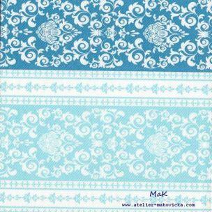 PASCAC BLUE  - luxusné svadobné servítky z netkanej textílie, ornament, modrá, tyrkysová rozmer 40x40