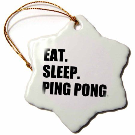 3dRose Eat Sleep Ping Pong - sport humor fun text gift for table tennis fans, Snowflake Ornament, Porcelain, 3-inch