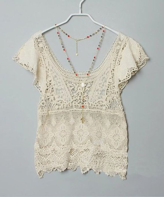 Sheer  angelic lace crochet embroidered net neutral  boho top scallop tier floral on Etsy, $40.00