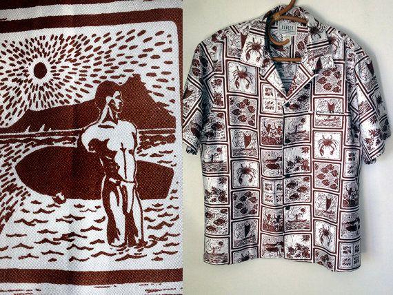 Men's Vintage Hawaiian Shirt 60s 1960s Wood Block by elliemayhems