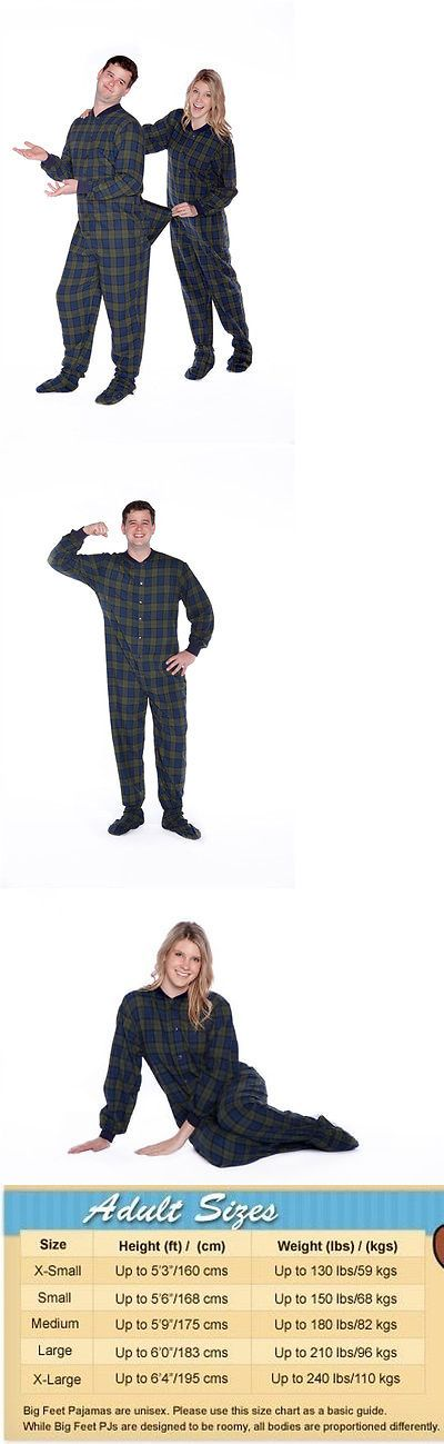 Sleepwear and Robes 11510: Navy Blue And Green Plaid Flannel Adult Mens Footed Pajamas W Butt Flap Onesie -> BUY IT NOW ONLY: $59.99 on eBay!