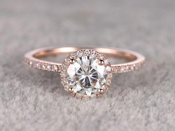 7mm Round Moissanite Engagement Ring Diamond Wedding Ring 14k Rose Gold Halo Prong Set