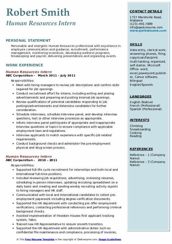 Human Resources Intern Resume Samples Qwikresume Resume Examples Human Resources Resume Job Resume Samples