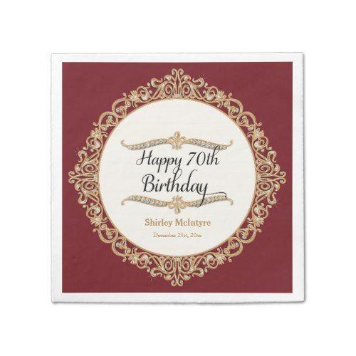70th Happy Birthday Party Celebration Round Decor Paper Napkin