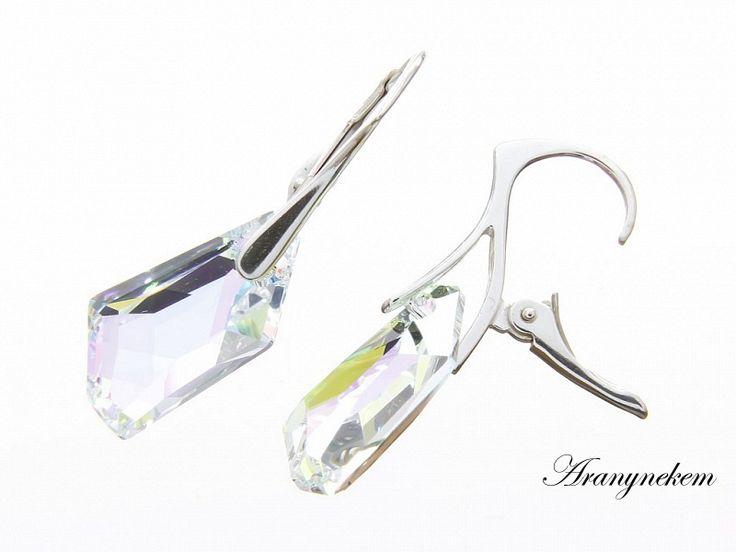 Irizáló Swarovski kristályos francia kapcsos ezüst fülbevaló