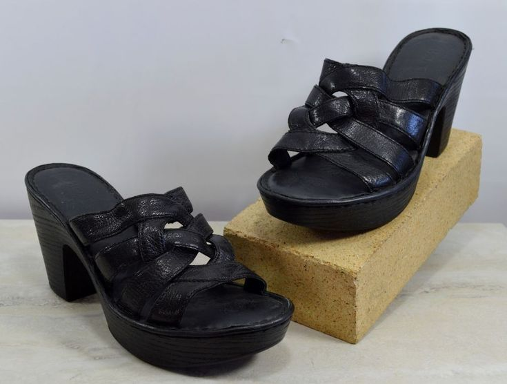Born Black Woven Strappy High Heel Sandals Women's Size 6 M #Brn #Strappy #Casual