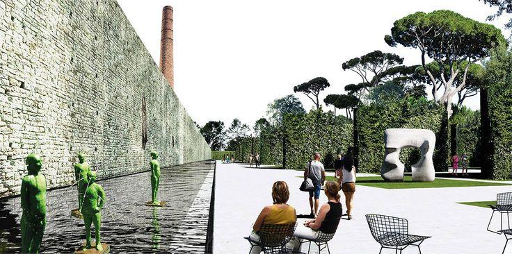 OBR + Michel Desvigne | Parco Centrale di Prato progetto vincitore  Vista del canale d'acqua lungo le mura storiche