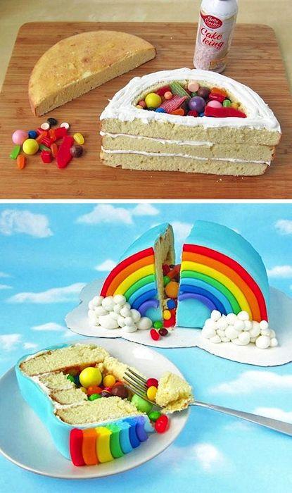 ^Rainbow^Power!! Ook leuk om te maken met een kleine taart, half doorsnijden, marsepein erop doen en de binnenkant uithollen en er bijv. gekleurde m&m's erin doen:)