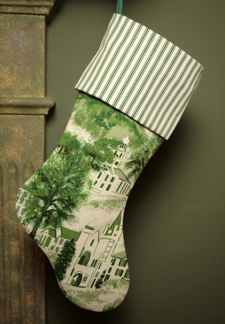 Green Toile Christmas Stocking