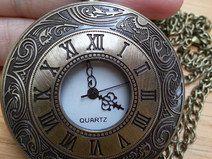 Horlogeketting - Zakhorloge/ horloge ketting brons romeins - Een uniek product van Made-by-Kelly op DaWanda