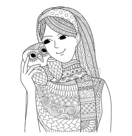 Chica guapa con un diseño de zentangle de buho para colorear libro para adulto — Vector de stock