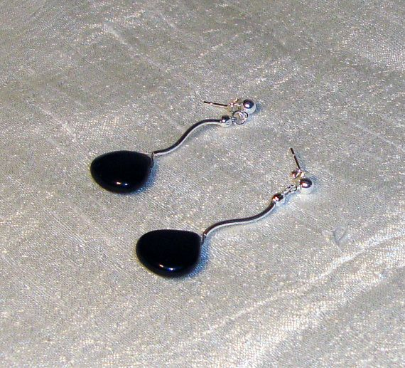 Black onyx silver earrings by AriadniCreations on Etsy