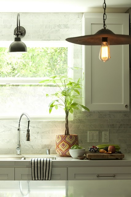 #kitchen inspiration, white cabinets, marble subway tile, #pendant lights, love this kitchen,: Marbles Subway Tile, Amber Interiors, Lights Fixtures, Back Splash, Industrial Lights, Kitchens Backsplash, White Cabinets, Kitchens Sinks, White Kitchens