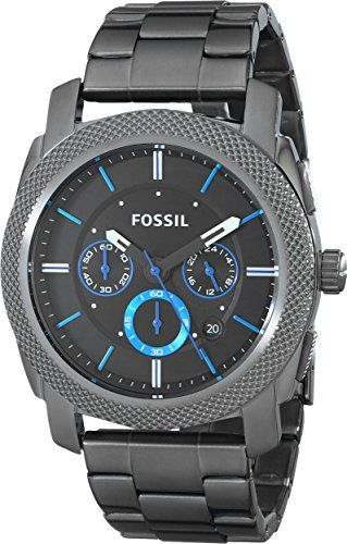 Now available Fossil Men's FS4931 Machine Gunmetal-Tone Stainless Steel Bracelet Watch