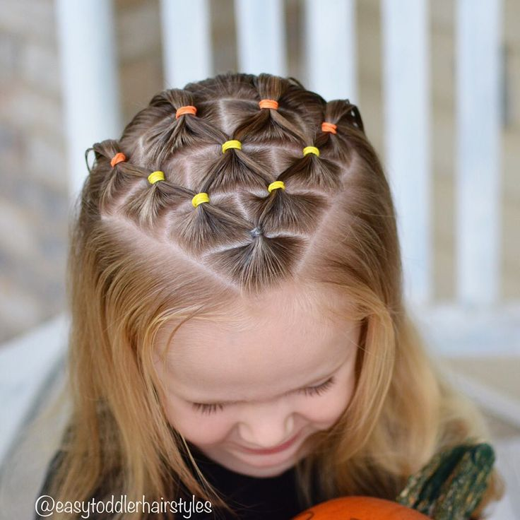 "675 Likes, 26 Comments - Tiffany ❤️ Hair For Toddlers (@easytoddlerhairstyles) on Instagram: ""Candy corn elastic style!  The colored elastics and triangle parting give it the candy corn effect.…"""