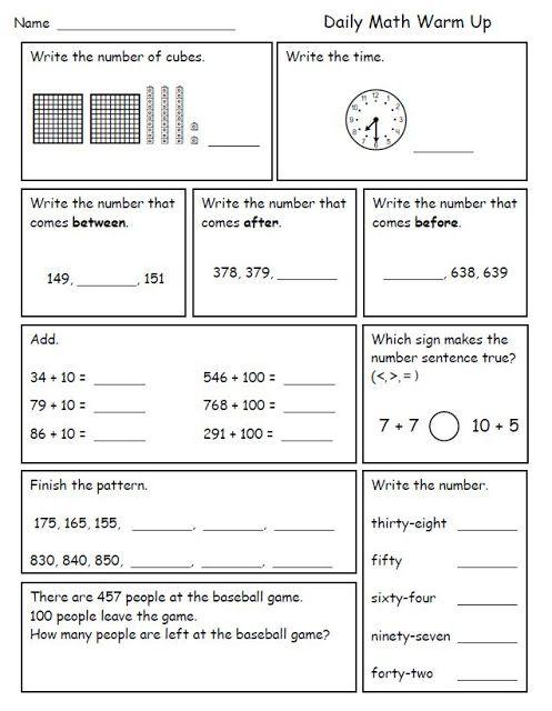 Calendar Math Ideas Nd Grade : Math morning work for second grade