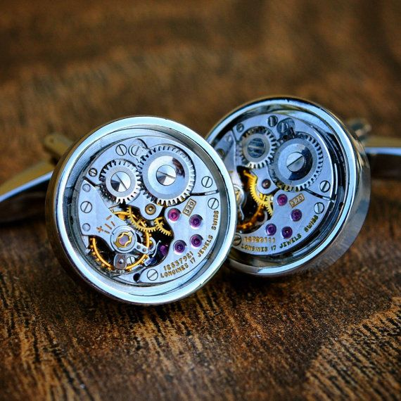Longines Cufflinks Watch Movement  Steampunk by JFoxCufflinks  #cufflinks #suit #tie #shirt #horology #menswear #mensfashion #watchmovementcufflinks #mensaccessories #men #gentleman #dapper #sartorial #debonair #vintagecufflinks #steampunkcufflinks #steampunk #retail #groom #luxury #weddingday #groomgift #timepiece #groomsmengift #dadgift #handmade #fashion #birthdaygift #wristwatch #style #watch #bestmangift #etsy #etsyshop #longines