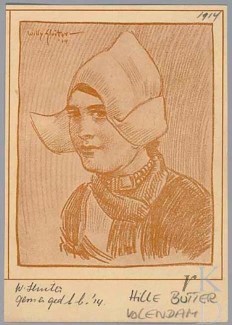 Willy Sluiter Portret van Hille Butter (1891-1968), 1914 werkzaam in het Hotel Spaander te Volendam, waar talrijke kunstenaars logeerden; ze was een geliefd model en bevriend met vele kunstenaars #NoordHolland #Volendam