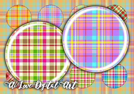 Digital collage sheets scottish Tartan Plaid instant download #tartanprintables #digitalcollagesheetsspendants #cabochondownload