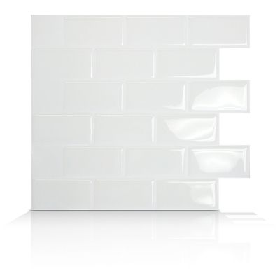 Smart Tiles - Peel & Stick Tiles that simply lay over existing tile, wallpaper or painted walls.  Remove with hot air from hair dryer.  White subway tiles for my kitchen!