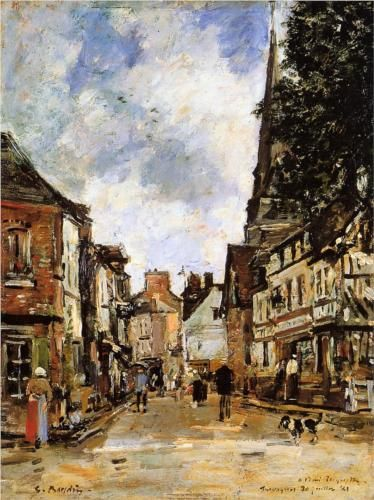 Eugene Boudin (French: 1824-1898) | Fervaques, a Village Street