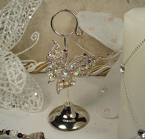 Metal butterfly place card holder