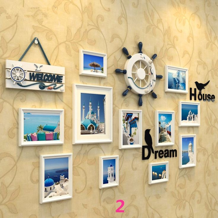 1 Set(13 pcs) Mediterranean Style Picture Photo Frame Wood Wall Mural Photos Frames Wall Sticker DIY Home Decor Removable-inFrame…
