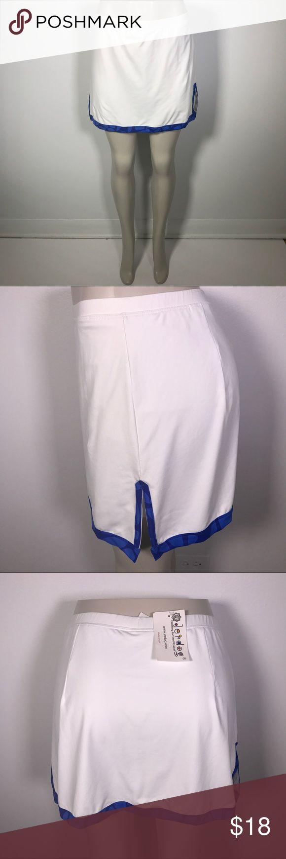 """JERDOG TENNIS SKORT! White and blue Sz M. JERDOG TENNIS SKORT! White and blue size medium. Waistband 30"""", length 15"""", side vents 5"""" jerdog Shorts Skorts"""