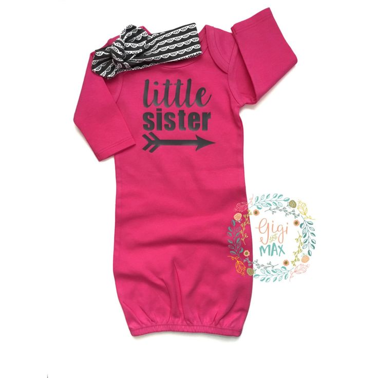 Baby girl Gown Little Sister Hot Pink and Charcoal baby gown Baby girl coming home outfit pink gown going home set brand new baby shower by GigiandMax on Etsy https://www.etsy.com/listing/271523425/baby-girl-gown-little-sister-hot-pink