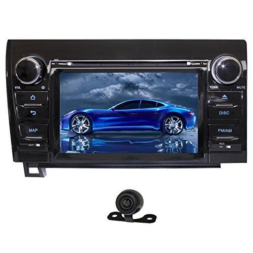 YINUO QUAD CORE 16GB 1024*600 Android 4.4.4 7 Inch Car DVD Player GPS Stereo for 2007-2013 Toyota Tundra/ 2008-2014 Toyota Sequoia Car Stereo Touch Screen In Dash Navigation Rear View Cam Included