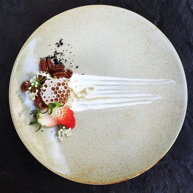 """Honeycomb, peacan, strawberry, greek yoghurt and acai • by royalebrat on IG #plating #gastronomy"