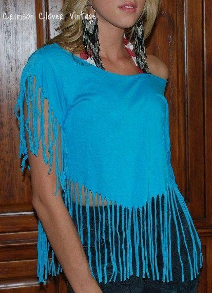 Vintage 80s Rocker Fringe T Shirt Off Shoulder Torquoise