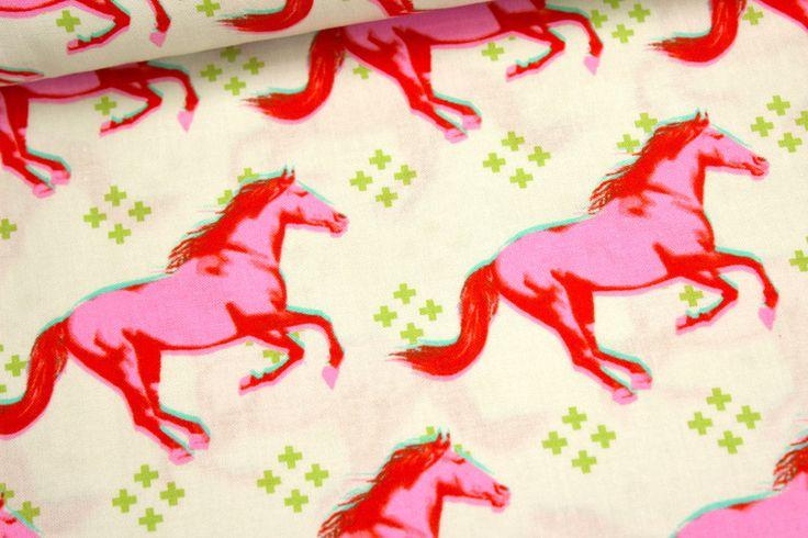 Stoff - Mustang - Pferde - Rosa - Melody Miller von alles-fuer-selbermacher auf DaWanda.com