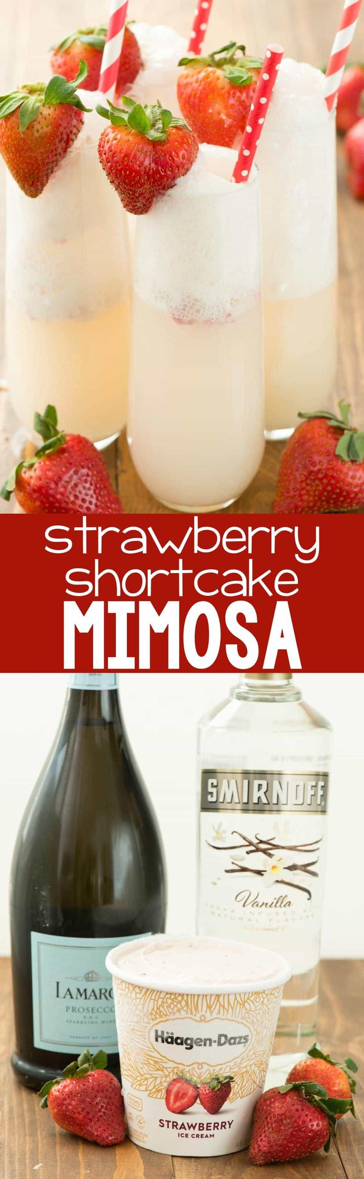 Strawberry Shortcake Mimosa - just three ingredients to the prettiest mimosa recipe ever! This champagne cocktail is perfect for brunch and can be made as a single cocktail or as a punch! #cocktailrecipes