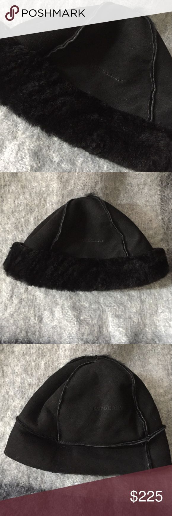 "Burberry Shearling Hat I bought this a number of years ago at a Burberry store. I wore it for about 15 minutes when I remembered why I don't like wearing hats. It has been in my coat closet since.🙄It is one size fits all, but if you have a large head it's not for you. 11"" across(inside) at bottom when rolled up. 7"" crown to bottom rolled 8 1/4"" unrolled. I think it was more than I listed, but still looking for the tag.It's beautiful so don't hesitate. Super versatile! Let me know if you…"