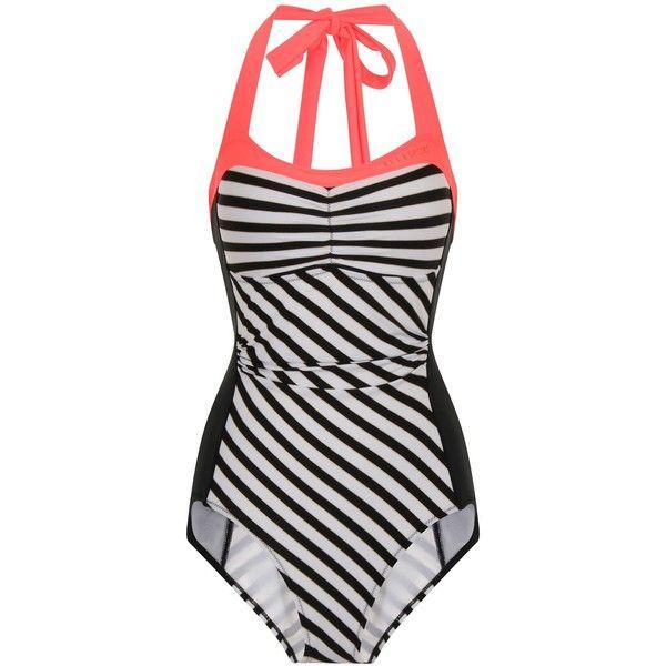 Elle Sport Stripe Bandeau Swimsuit ($44) ❤ liked on Polyvore featuring swimwear, one-piece swimsuits, black, clearance, sports bathing suits, swim suits, swimsuit swimwear, striped one piece swimsuit and bandeau swim suit