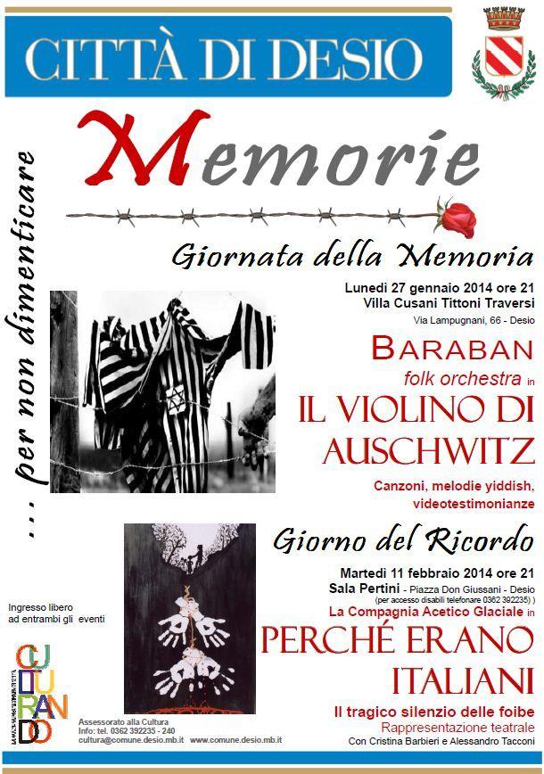#Desio #GiornataDellaMemoria stasera h21 in Villa Tittoni concerto 'Il violino di Auschwitz' #culturando
