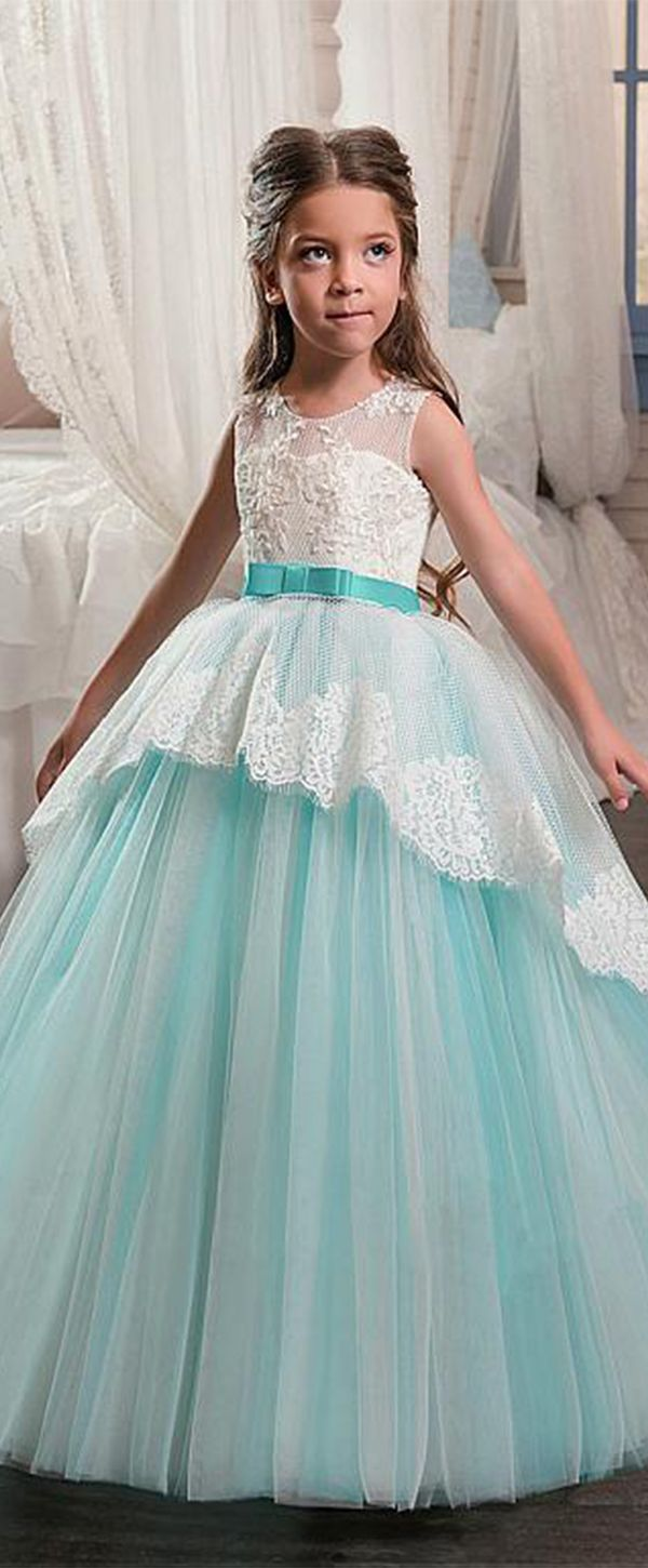 Attractive Satin Jewel Neckline Ball Gown Flower Girl Dresses With Beaded Lace Appliques