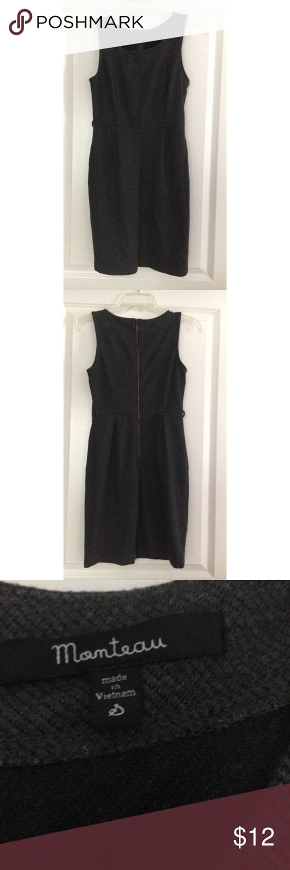 Charcoal grey dress Charcoal grey dress, zips in the back & loop holes for thin belt. Never worn. Monteau Dresses