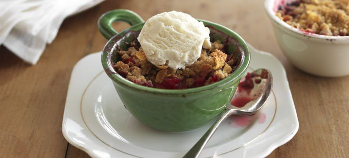 Quick Boysenberry and Apple Crumble recipe from Food in a Minute