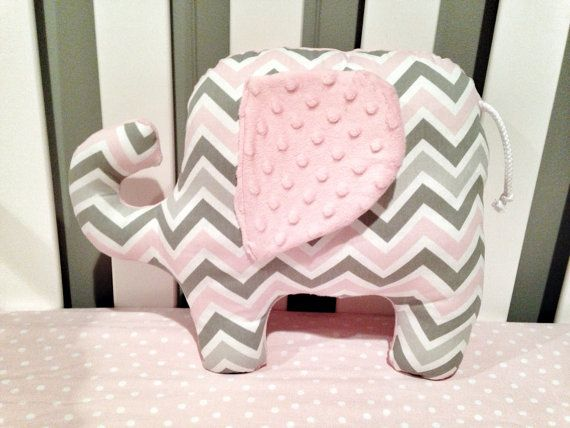 Grey and pink chevron elephant pillow for baby girls nursery. Gray and pink chevron elephant pillow or stuffed by RaggedyRAD, $30.00
