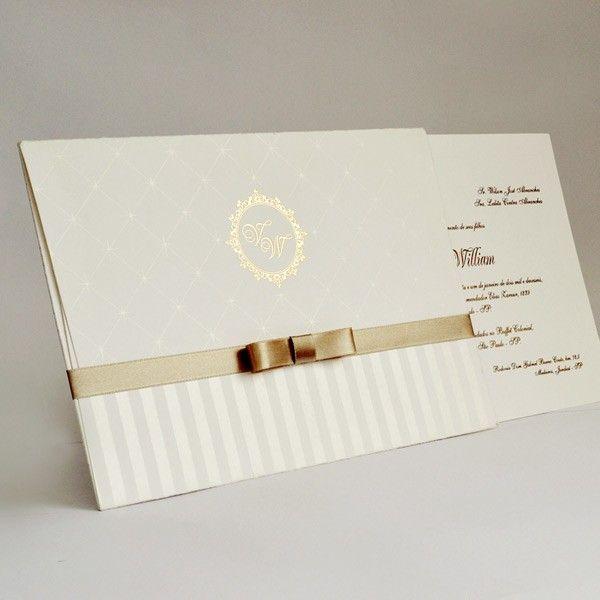 Convite de casamento tradicional - Papel e Estilo - Loja Online www.lojadeconvite.com.br