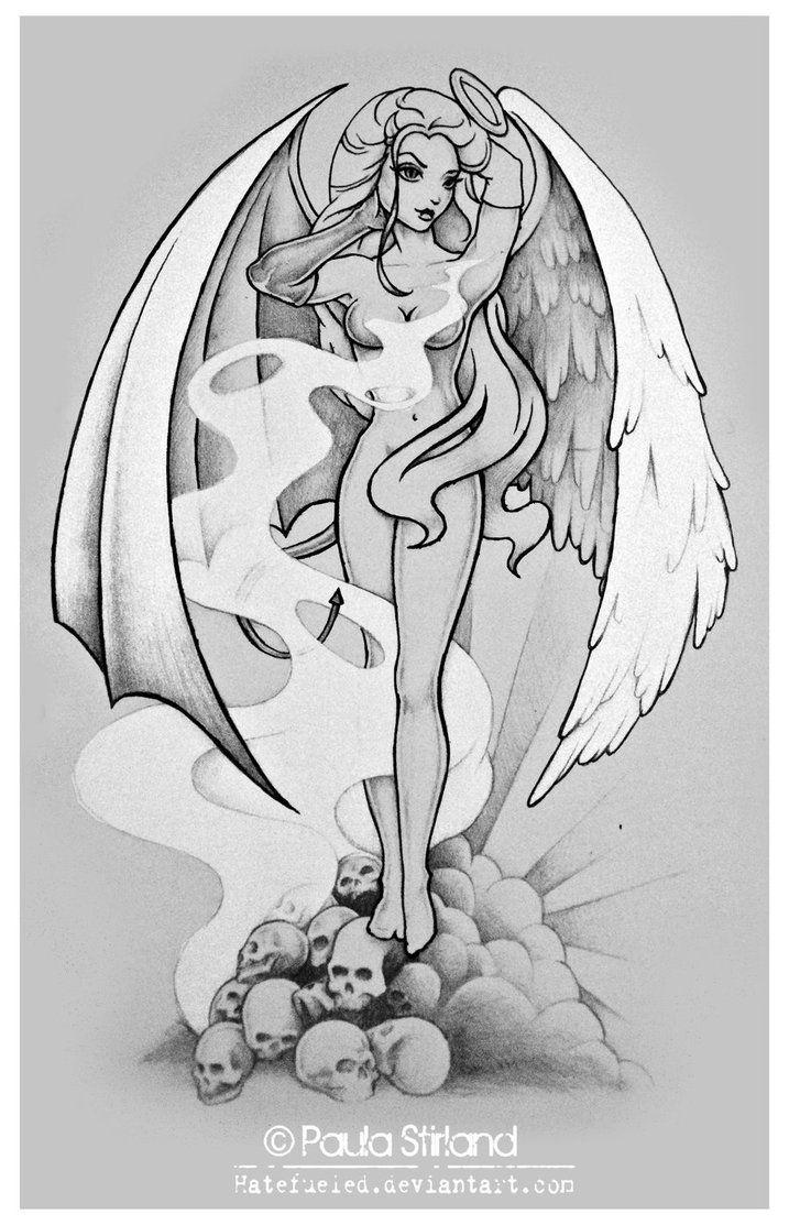 Devil fucking angel tattoo