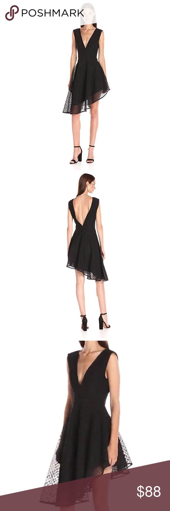❤️SOLD❤️ finders keepers // organza dress NWT findersKEEPERS black organza dress. Tank sleeves, deep front and back v, asymmetrical hemline, wide waistband, hidden back zip. Absolutely gorgeous for spring/summer weddings and parties! Finders Keepers Dresses Asymmetrical