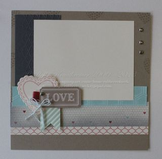 Holly created a lovely 8x8 scrapbook page. She used Hearts a Flutter & its framelits, More Amore dsp, Artisan Designer Kit, Honeycomb & Fancy Fan embossing folders.