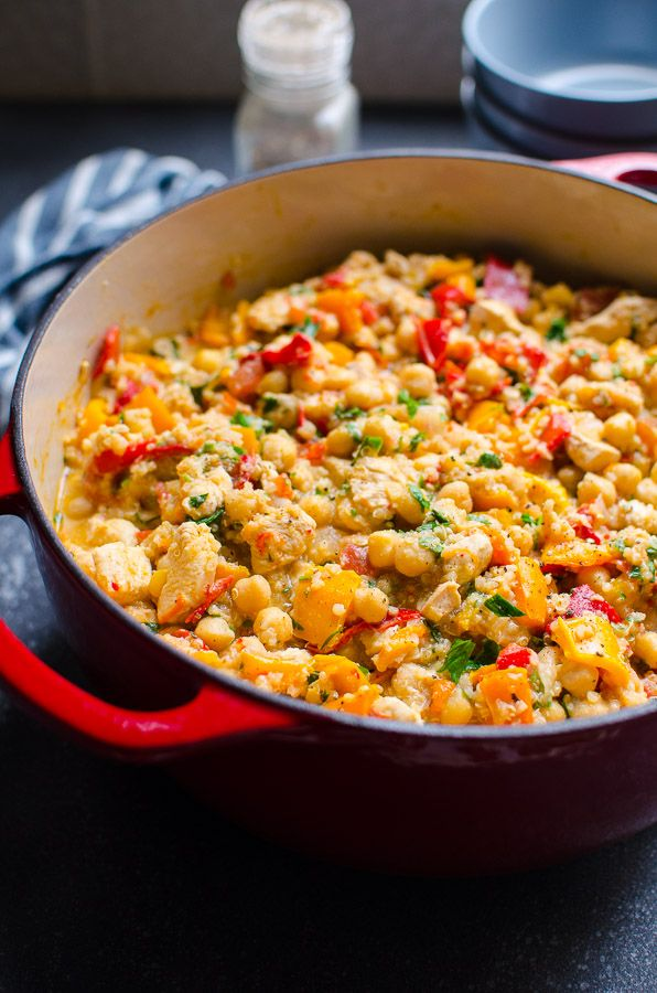 Chicken Chickpea Stew Recipe is healthy 30 minute meal with chicken breast, pepper, tomato, quinoa and canned chickpeas. Kids love and lots of leftovers.   ifoodreal.com