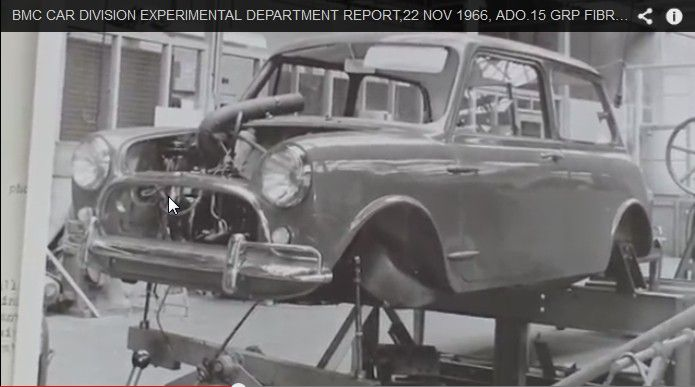 BMC car division , experimental department , 22nd Nov. 1966 , ADO15 .. GRP fibreglass body, was to be made overseas in countries where it was not possible to produce steel panels .