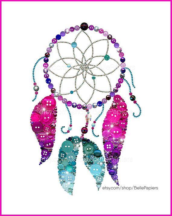 Dreamcatcher Wall Art Button Art PRINT Dreamcatcher Decoration