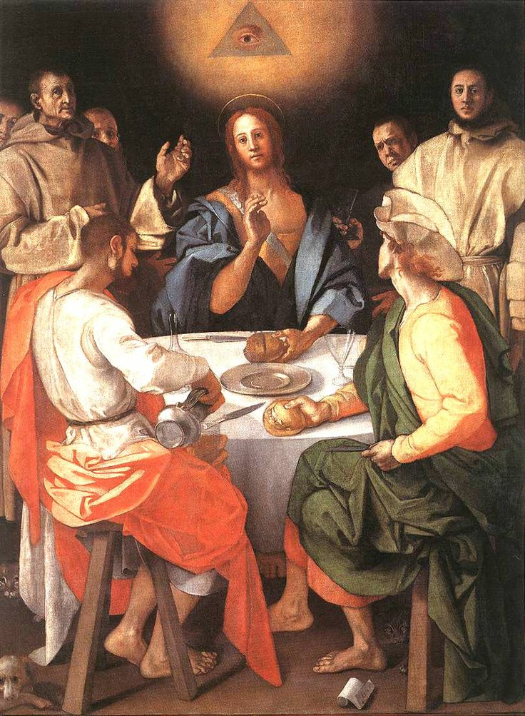 Supper in Emmaus  | oil painting,1525 | Jacopo Pontormo ----- Uffizi Gallery