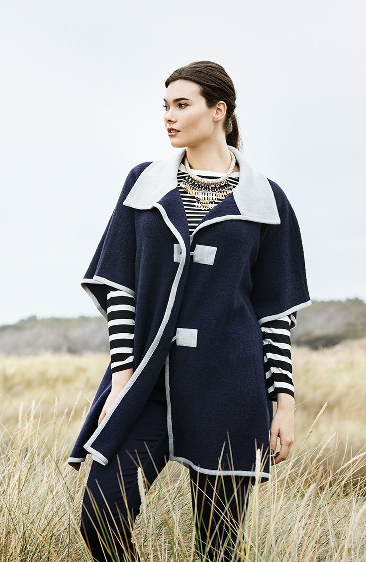 K+K - plus sized clothing for the curvy woman sizes 10-26. Autumn fashion. Winter fashion. Navy jacket. Poncho. Striped top. Winter style. Wool coat.